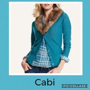 Cabi teal blue faux fur collar detail cardigan